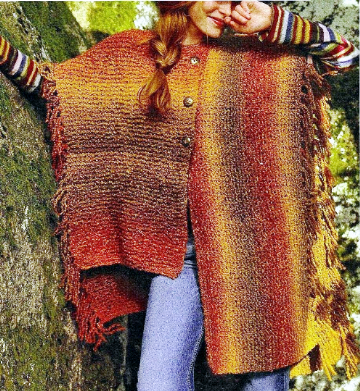 PDF Digital Download Vintage Knitting Pattern ​​​​​​​Ladies Asymmetric Poncho Cape